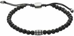 Zwarte Fossil JF02887040 Armband van roestvrij staal met kralen