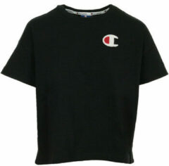 Zwarte T-shirt Korte Mouw Champion Crewneck T-shirt Cropped