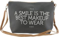 Zwarte Clayre & Eef Toilettas : a smile is the best make-up to wear