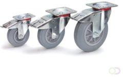 Fetra Zwenkwiel met rem 125 x 38 mm, Massief streeploos rubber wiel