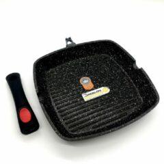 Zwarte Blackstone Sterk Grillpan 28cm Afneembare Handgreep - Gegoten Aluminium, Anti-Aanbaklaag, Geschikt voor Alle Warmtebronnen, ook inductie - Greblon Duitse Technologie