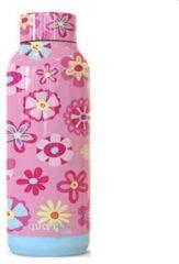 Quokka Drinkfles Solid Flowers 510 Ml Rvs Roze/lichtblauw