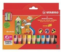Kleurpotlood Stabilo Woody 3 in 1 geassorteerde kleuren - Doos van 10 + 1 puntenslijper