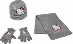 Hello Kitty winterset - Handschoenen, Muts en Sjaal - Grijs - 52 cm