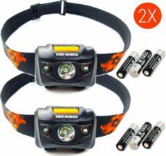 King Mungo Hoofdlampen LED | 2 st. | 160 lm | incl. batterijen | zwart | KMHL008