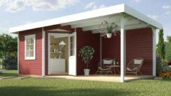 Rode Blokhut Fides 3 Gr. 2 646 x 338cm rood/wit met aanbouw 300cm