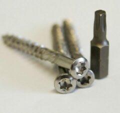 Zilveren Meuwissen Agro Vlonderschroeven RVS 85 st. + 2 bitjes - Torx 5,0 x 80mm