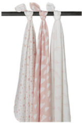 Witte Meyco 3-pack Swaddle - Feather-Clouds-Dots - roze