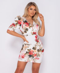 Witte Parisian Floral print puffed bodycon mini dress