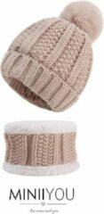 MINIIYOU Set muts colsjaal Fleece Baby (4-12 maanden) beige | Beanie pompom - meisjes jongens sjaal