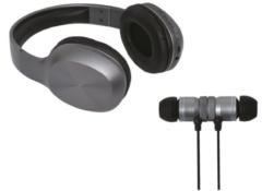 Grijze Soundlogic Hoofdtelefoon + Oordoppen Draadloos - Bluetooth