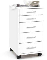 FMD Ladekast met 5 lades verplaatsbaar wit 336-001