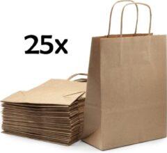 PrimeAmbition Kraft Papieren Tasjes Met Handvat – 25 Stuks – Bruin – 18 x 8 x 24 cm – Papieren Zakjes - Gift Bag – Geschenktas – Cadeautasjes – Cadeauzakjes – Cadeau Tas