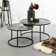 Light & Living Talca Deep Edge - Ronde Salontafel - Set van 2 - Ø78 en Ø60 cm - Zwart