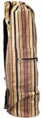 Yogi & Yogini naturals Yogamat tas met trekkoord bruin gestreept (74x19 cm)