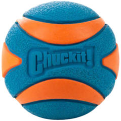 Chuckit Ultra Squeaker Ball - Hondenspeelgoed - 5 cm Blauw Oranje S