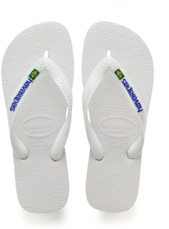 Afbeelding van Witte Havaianas Unisex Brasil Logo Flip Flops - White - EU 39-40/UK 6-7 - White