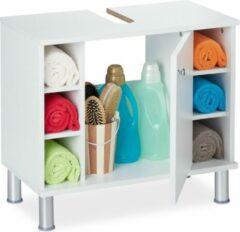 Relaxdays Wastafelonderkast MDF - wastafel meubel - onderbouwkast - badkamerkast wit