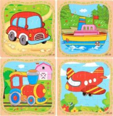 Aslan® 4 Houten Puzzels van 16 stukjes | Legpuzzels | Voertuigen: Boot, Auto, Trein, Vliegtuig | Kinderen | Peuters | Kleuters