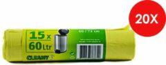 Cleany Pedaalemmerzakjes - 60 L - Geel - 15/Rol x 20 (300 stuks)