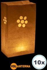 Witte Volanterna 10 x candle bag Bloem, Fiore papieren kaars houder, lichtzak, candlebag, candlebags, sfeerlicht, bedrukt, logo, foto