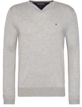Afbeelding van Licht-grijze Tommy Hilfiger Core Cotton pullover in zijdeblend met V-hals