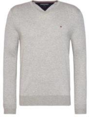 Licht-grijze Tommy Hilfiger Core Cotton pullover in zijdeblend met V-hals
