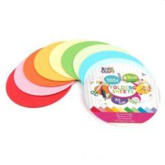 Craft Sensations Ronde vouwblaadjes | Diameter 15 CM | 100 stuks | 70 Gram | 10 verschillende kleuren | papier | knutselen voor kinderen | Origami