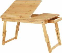 SONGMICS In hoogte verstelbare laptoptafel met lade, inklapbare notebooktafel van bamboe, bedtafel voor lezen of ontbijt en tekentafel 55 x (21-29) x 35 cm