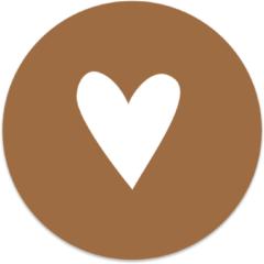 Beige Label2X Muurcirkel klein hart wit/terra - Ø 30 cm - Forex (binnen)
