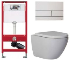 Douche Concurrent Tece Toiletset - Inbouw WC Hangtoilet Wandcloset - Shorty Tece Square Mat Wit