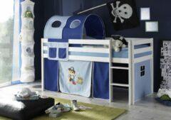LSD Half-hoogslaper Piraat blauw wit gelakt incl. de voorhangtent onder het bed