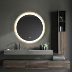 LOMAZOO Badkamerspiegel Goud met LED Verlichting - 60cm Rond - Verwarming Anti Condens - [LONDON]