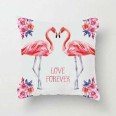 Roze MFFL Kussenhoes Twee Flamingo's en tekst Love Forever (500043)