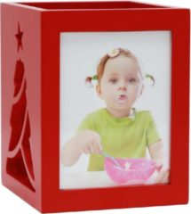 Deknudt Frames S67HE4 E2A Theelichthouder in rood voor 2 foto's met kerstboom motief