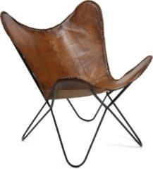 Bruine Livin24 Bauhauschairs Vlinderstoel Flair - Cognac Butterfly chair