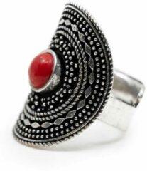 Rode Spiru Bohemian Ring Bamboe Koraal – Verstelbaar