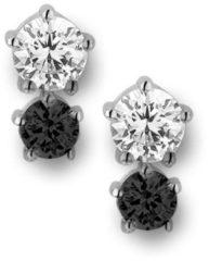 New Bling 9NB-0200 - Zilveren oorstekers - solitaire zirkonia rond 5 en 4 mm - zilverkleurig / zwart
