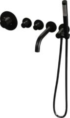 Brauer ColdStart Black Edition Badrand kraan inbouw met 2 stopkranen, baduitloop en staafhanddouche matzwart