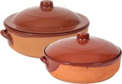 Bruine Merkloos / Sans marque Set van 2x stenen ovenschalen/braadpannen met deksel Salamanca 31 cm en 28 cm - Terracotta ovenschalen/braadpannen