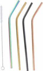 Alpina Rietjes herbruikbaar - Rietjes staal - Gekleurde rietjes - Duurzaam - 4 rietjes inclusief borstel