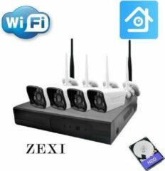ZEXI Wifi Kit - Camera beveiliging systeem - Wifi - Voor Buiten - 4 Camera's - Draadloos - Compleet Systeem - Met 500 GB - Wit