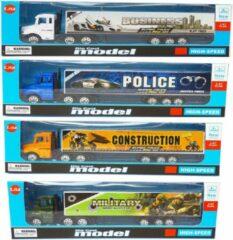 LX toys Vrachtwagen met oplegger set van 4 stuks - Die cast model voertuigen - 1:87 (4stuks)