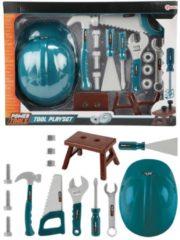 Groene Toitoys Gereedschapset met bouwhelm Toi-Toys: 16-delig