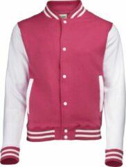 Awdis Kinder Unisex Varsity Jacket / Schoolkleding (Heet Roze/Wit)