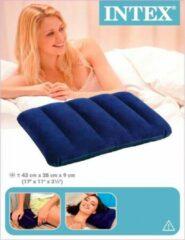 Blauwe Intex Opblaasbare Kussen   Inflatable Travel Pillow   Reis Kussen   Reiskussen   Reizen   Opblaasbaar   Kamperen   43 x 28 x 9 cm