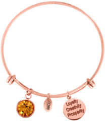 CO88 Collection Birthstone 8CB 12059 Stalen Armband met Hangers - Geboortesteen November met Swarovski Elements - One-size - Rosékleurig / Oranje