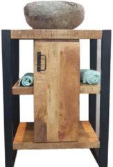 Onderkast Boss & Wessing Mineola Mango Wood 60x45x81cm Met Mat Zwart Metaal