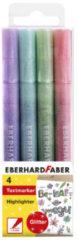 Markeerstiften Eberhard Faber Pastel kleuren met glitters 4stuks