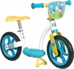 Blauwe Smoby Loopfiets Peppa Pig   Balance fiets met pikkel   Verstelbare Leerfiets met voetsteun en standaard
